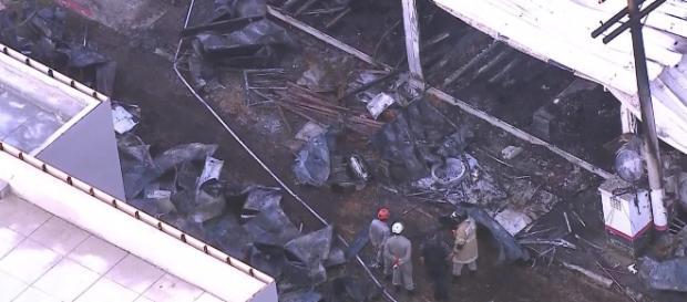 Incêndio destruiu parte do CT (Reprodução TV Globo)