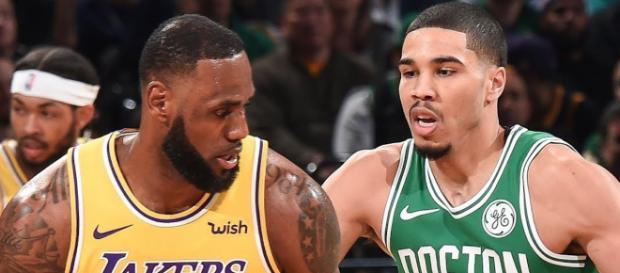 LeBron James and the Lakers battled Jayson Tatum and the Celtics in Boston on Thursday (Feb. 7). [Image via NBA/YouTube]