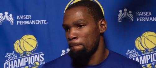 Kevin Durant spoke to reporters following a Warriors' win in Phoenix on Friday (Feb. 8). - [ESPN / YouTube screencap]