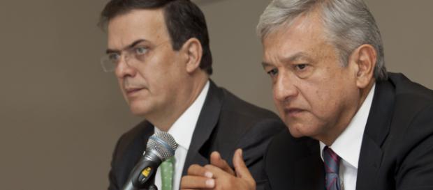 Marcelo Ebrard, canciller de México junto al presidente López Obrador.