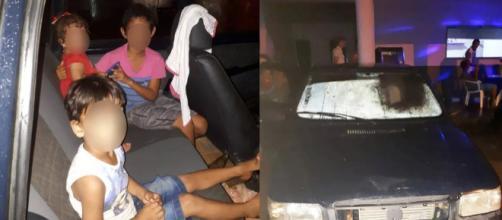 Crianças são abandonadas em carro no MT (Foto: Divulgação/Polícia Militar do MT)