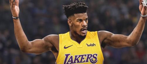 The Lakers could try to make a major offer to sign NBA free agent Jimmy Butler this offseason, per ESPN. - [ClutchPoints / YouTube screencap]