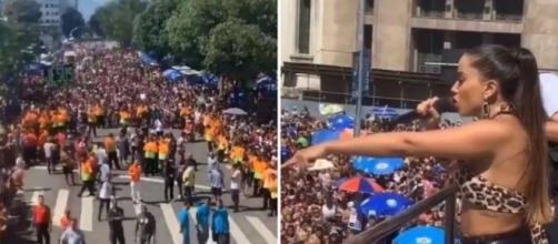 Anitta interrompeu o show e esperou os policiais prenderem o rapaz (foto: reprodução / Bloco das Poderosas)