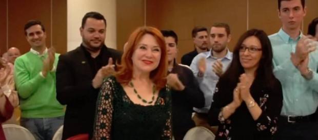 La madre de Irene Villa, en el acto de VOX en Móstoles. / YouTube