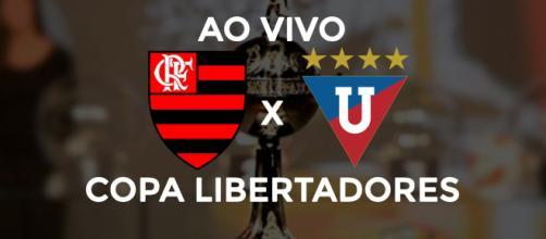Flamengo x LDU ao vivo (montagem Diogo Marcondes)