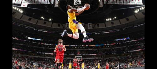 LeBron James helped lead the Lakers to a comeback win in Chicago on March 12. [Image via Bleacher Report/YouTube]