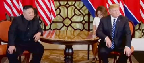 Trump-Kim nuclear talks in Hanoi break down. [Image source/Guardian News YouTube video]