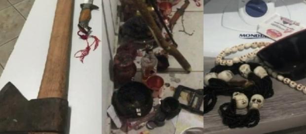 Esses objetos foram encontrados na casa do suspeito (Foto: Reprodução/TV Anhanguera)