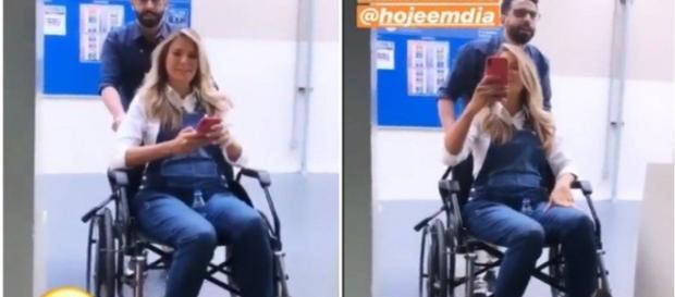 Ticiane Pinheiro aparece de cadeira de rodas na Record (Foto: Redes Sociais)