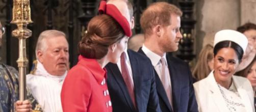 Kate Middleton & Meghan Markle join forces for Commonwealth Service at Westminster Abbey. [Image source/Access YouTube video]