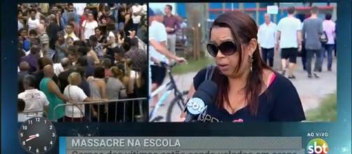 Sandra, amiga da família de Samuel, que foi vítima do massacre, concede entrevista ao SBT (Foto: Reprodução/ SBT)