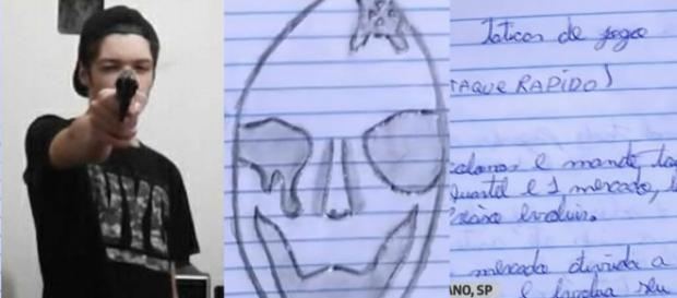 Guilherme e o caderno encontrado junto ao atirador (Reprodução Globo News)