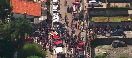 Imagem aérea do local onde ocorreu massacre em Suzano (SP) (Reprodução/Rede Globo)