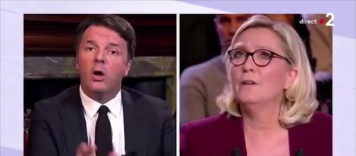 Matteo Renzi contro Marine Le Pen alla tv francese