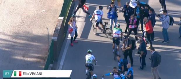 Elia Viviani e Peter Sagan subito dopo l'arrivo.