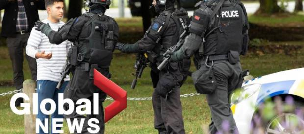 Police are out after the mass killing at Christchurch. Photo- (Image -credit-globalnews/youtube.com)