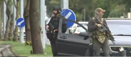 49 killed in terror attack at New Zealand mosques. [Image source/ABC News YouTube video]