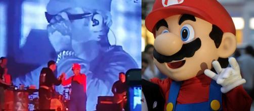 Salmo travestito da Super Mario a Napoli.