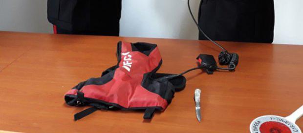 Gli oggetti ritrovati in possesso del rumeno
