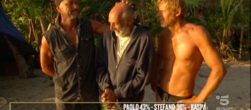 Stefano Bettarini, Paolo Brosio e Kaspar Capparoni (credit: isola dei famosi)