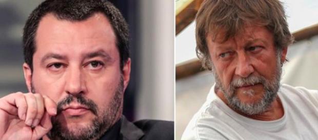 Il Ministro Matteo Salvini ed il capo missione Luca casarini