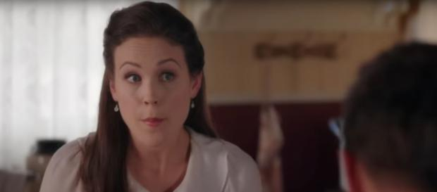 The cast (Erin Krakow pictured) and crew of When Calls the Heart take a 'creative hiatus' and promise a return.[Image source-TVPromos-YouTube]