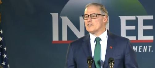 What has Jay Inslee done on climate change as governor? [Image source/CBS News YouTube video]