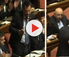"""Salvini, commosso, in Senato: """"Amo l'Italia""""."""