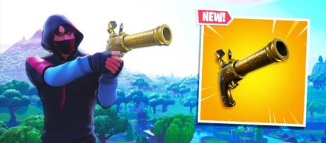 Fortnite's latest patch introduces the Flint-knock weapon. [image credits: GhostNinja/YouTube screenshot]