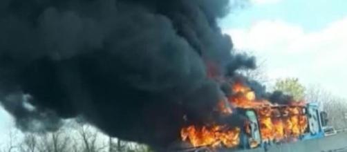 Foto di Ansa, pullman in fiamme