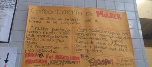 Um dos cartazes que gerou críticas em escola em Vila Velha (ES) (Reprodução/Twitter)