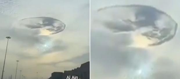 """Il misterioso """"buco"""" apparso tra le nuvole degli Emirati Arabi. - dailymail.co.uk"""