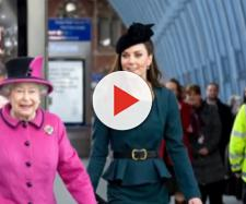 Queen Elizabeth II & Kate Middleton have 1st solo outing. [Image source/E! News YouTube video]