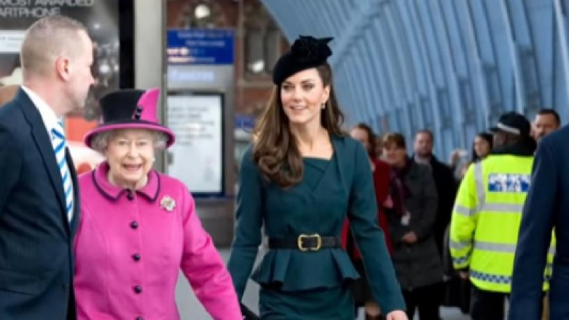 Queen Elizabeth II's interaction with Kate Middleton and Meghan Markle