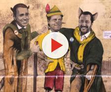 Roma, il murale con Salvini, Di Maio e Conte nei panni dei personaggi di Pinocchio - virgilio.it