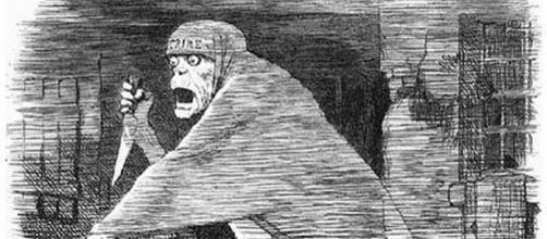 Le fantôme de Jack l'éventreur. Caricature parue dans le magazine Punch en 1888. Domaine public