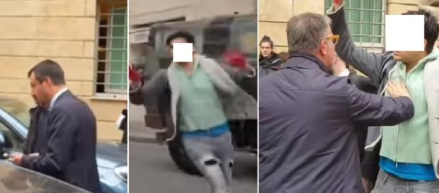 La foto sequenza del manifestante che prova a ottenere l'attenzione di Salvini