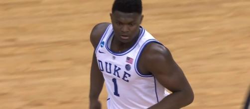 Projected No. 1 NBA draft pick Zion Williamson had an impressive NCAA Tournament debut for Duke. [Image via Bleacher Report/YouTube]