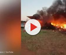Allegedly suicidal pilot crashes into flying club in Botswana - Image credit - News 24 via Page3 Online News | YouTube