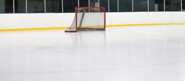 An ice hockey net set up on a rink. [Image via hfromnc - Pixabay]