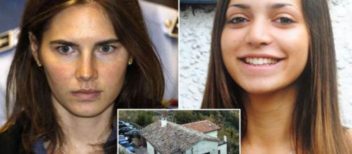 Amanda Knox e Meredith Kercher, nel riquadro la villetta di Perugia dove la studentessa inglese trovò la morte.