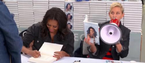 Ellen & Michelle Obama go to Costco. [Image source/TheEllenShow YouTube video]