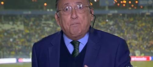 O narrador Galvão Bueno riu após sofrer 'trollagem' ao vivo. (Reprodução/Rede Globo)