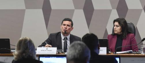 Moro é entrevistado por parlamentares no Senado. (Edilson Rodrigues/Agência Senado)