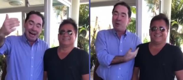 Cantor Leonardo e o desembargador Jaime Machado Junior, do TJSC. (Reprodução/YouTube)