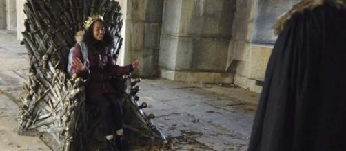 "A woman in Queens won the chance to sit on the Iron Throne from ""Game of Thrones."" [Image Drew Schwartz/YouTube]"