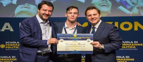 Giovanni Miscali con Matteo Salvini e Armando Siri - Fonte: Scuola Formazione Politica (Milano)