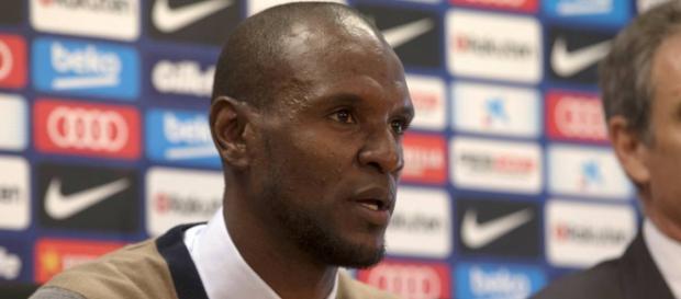 Éric Abidal durante una rueda de prensa.
