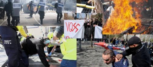 Incidentes por un acto de Santiago Abascal este sábado en Barcelona. / EL PAÍS