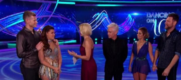 The night's lowest scorers Saara and Brian face the Semi-Final Skate-Off (Image credit: Dancing On Ice/ITVhub)